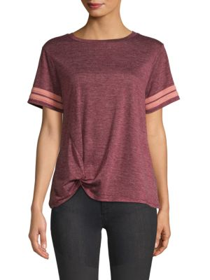 C&C CALIFORNIA Striped Knot-Front T-Shirt in Cranapple