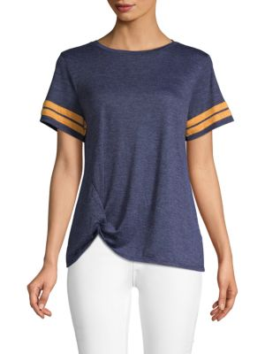 C&C CALIFORNIA Striped Knot-Front T-Shirt in Navy