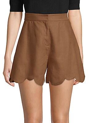 Scalloped Linen Shorts