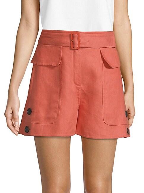 Belted Linen Shorts