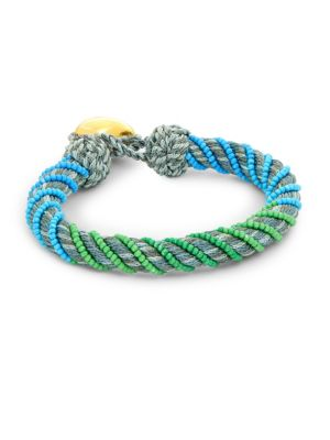 AUR LIE BIDERMANN Maya Beaded Woven Bracelet in Anthracite