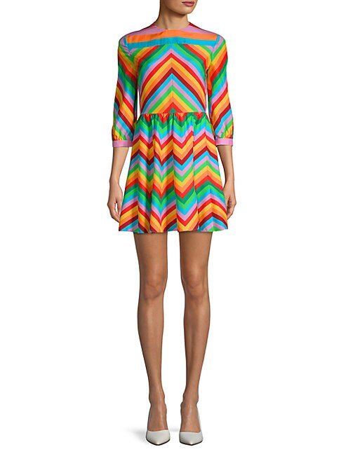 Striped Quarter-Sleeve Silk Dress