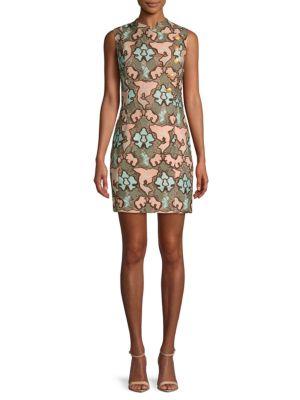 PIERRE BALMAIN Floral Sheath Dress in Pink Multi