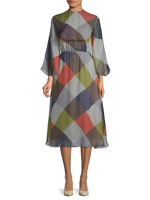 Checkered Silk Dress
