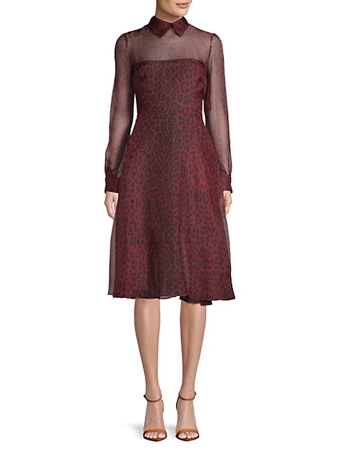 5374236fbd Valentino Leopard-Print Silk Dress In Red