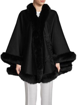Belle Fare Dyed Fox Fur Cashmere Cape