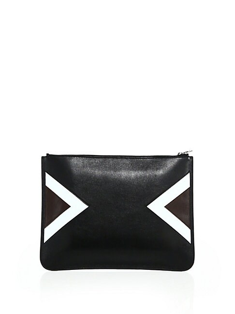 Retro Modernist Leather Zip Document Case