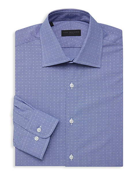 Dotted Long-Sleeve Dress Shirt