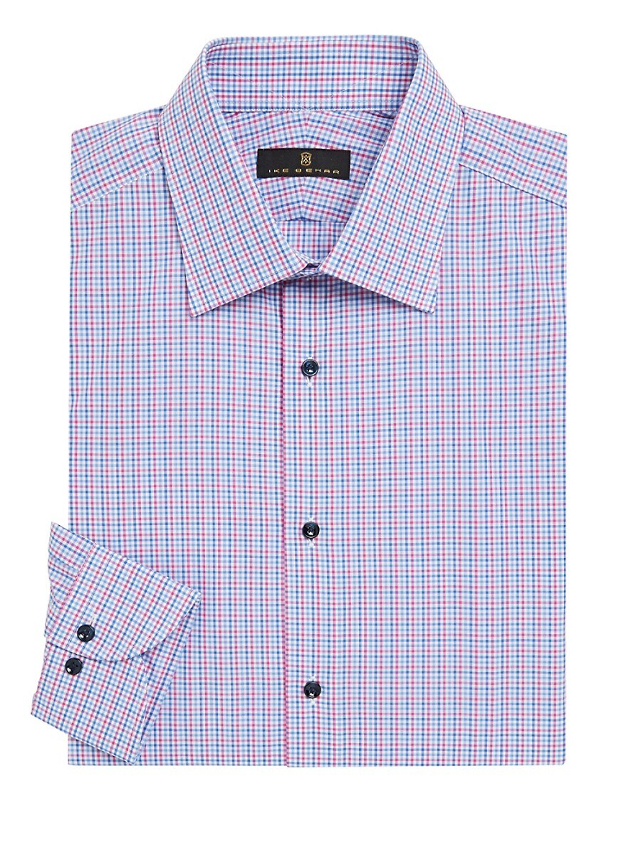 Men's Contemporary-Fit Mini Check Dress Shirt