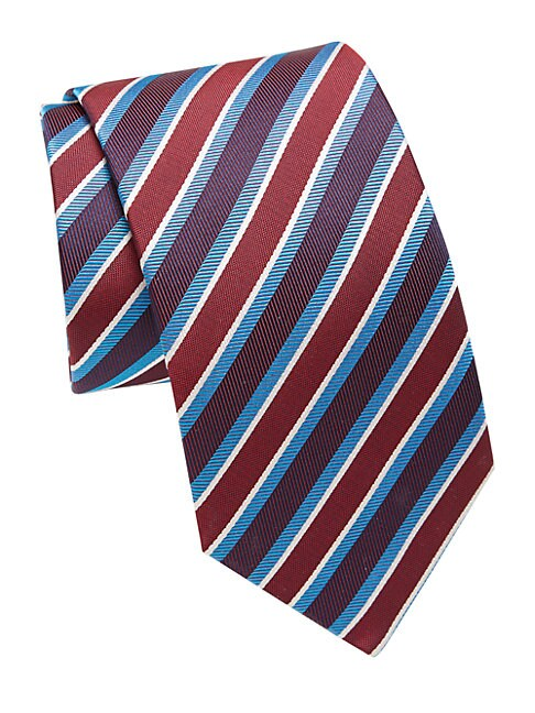Colorblock Striped Silk Tie