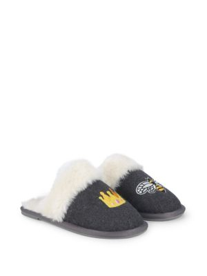 SAKS FIFTH AVENUE Queen Bee Faux Fur Lined Slippers