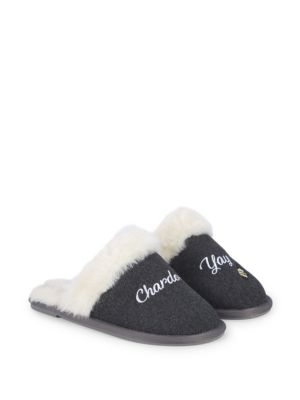 Saks Fifth Avenue Slippers Chardonn-Yay Faux Fur Slippers