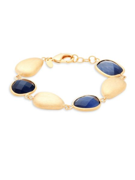 Navy Crystal & 18 K Gold Single Strand Bracelet by Rivka Friedman