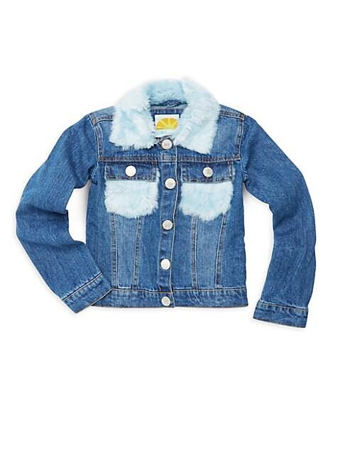 C&C CALIFORNIA Little Girl'S Faux Fur-Trimmed Denim Jacket