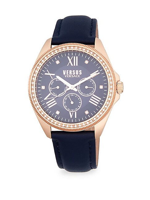 ELMONT STAINLESS STEEL EMBELLISHED STRAP WATCH