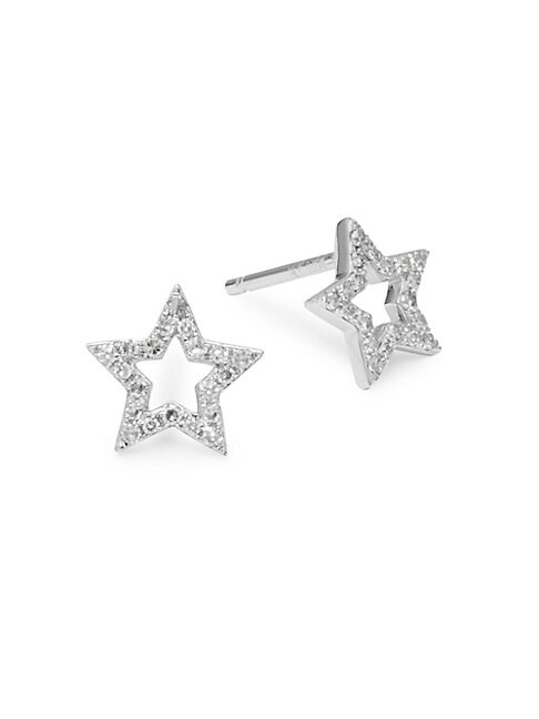 14K WHITE GOLD & DIAMOND STAR STUD EARRINGS