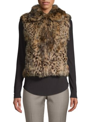 Adrienne Landau Animal-Print Dyed Rabbit Fur Vest