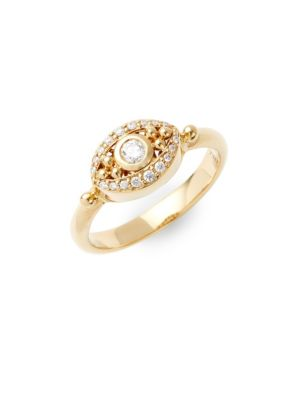 TEMPLE ST. CLAIR Diamond And 18K Yellow Gold Evil Eye Statement Ring