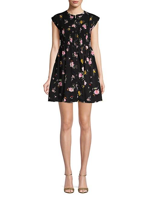 Capsleeve Floral Smock Dress