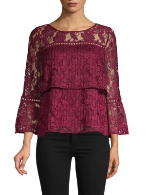 Laundry By Shelli Segal Lace Bell-Sleeve Blouse