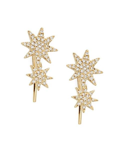 SAKS FIFTH AVENUE | 14K Yellow Gold & Diamond Crawler Earrings | Goxip