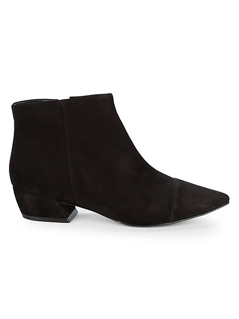 AVA & AIDEN | Point Toe Suede Booties | Goxip