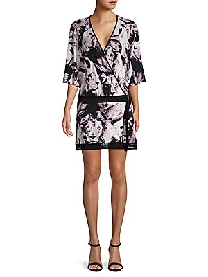 Animal-Print Belted Wrap Dress