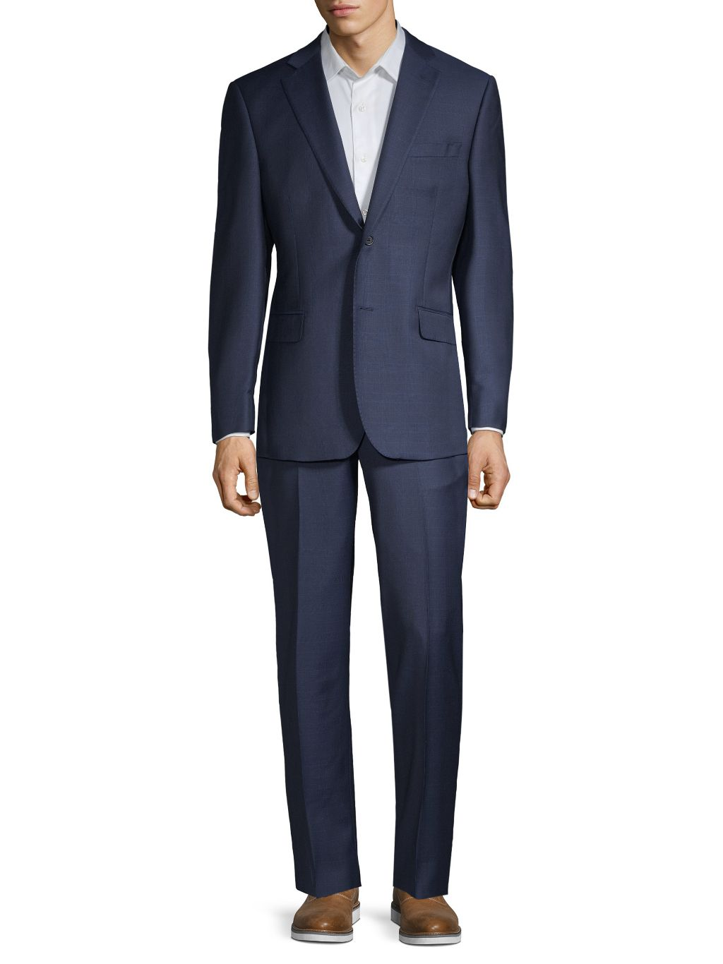 Saks Fifth Avenue Made in Italy Classic-Fit Windowpane Wool Suit