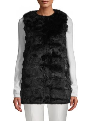 LA FIORENTINA Collarless Rabbit Fur Vest in Black