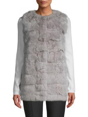 LA FIORENTINA Collarless Rabbit Fur Vest in Grey