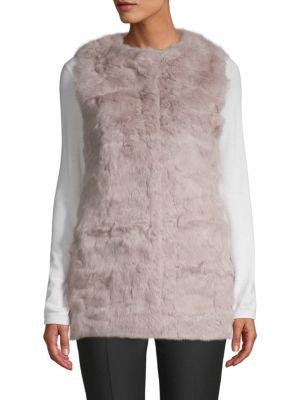 LA FIORENTINA Collarless Rabbit Fur Vest in Mauve