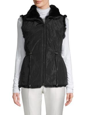 LA FIORENTINA Rabbit Fur Vest in Black