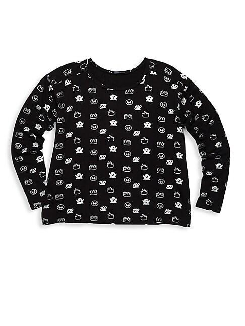Girls Foil Printed Crewneck Sweater