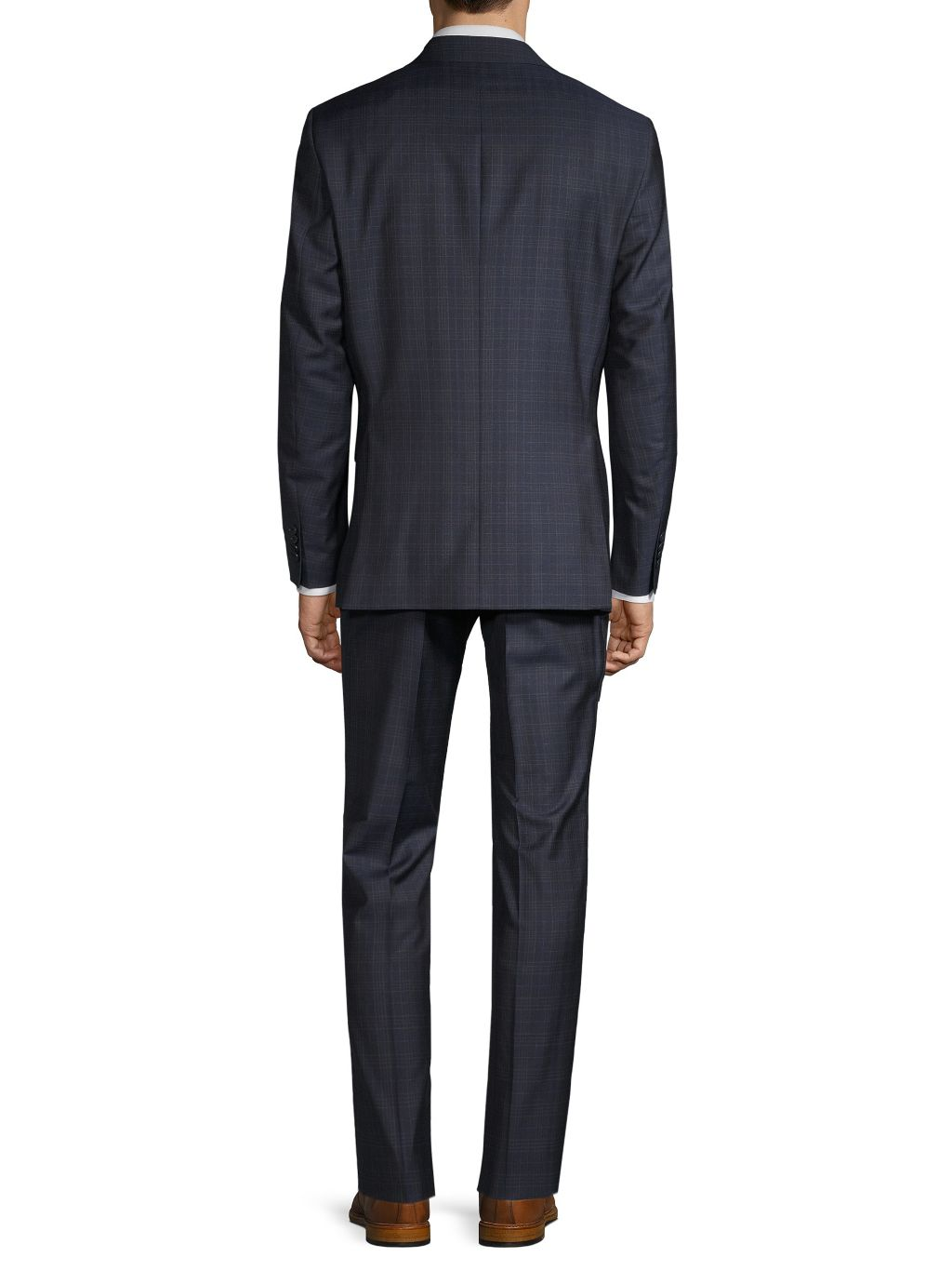 Saks Fifth Avenue Made in Italy Slim-Fit Plaid Wool Suit