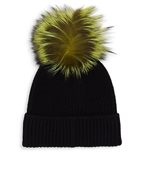 Dyed Fox Fur Pom Pom Cashmere Hat
