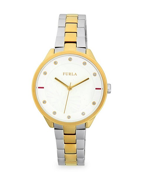 FURLA | Metropolis Crystal & Stainless Steel Bracelet Watch | Goxip