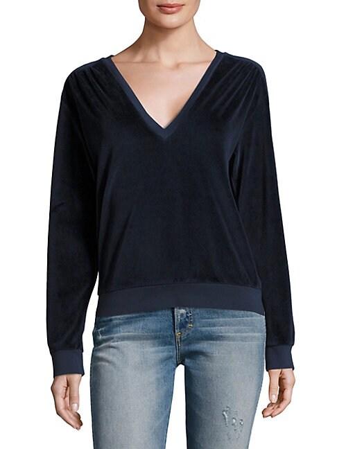 Deep V-Neck Velour Sweatshirt