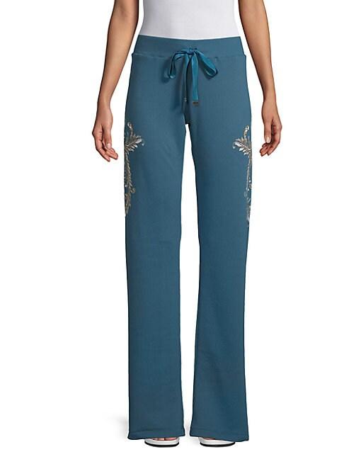 Botanical Wide-Leg Cotton Pants