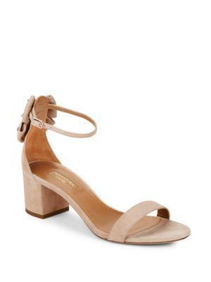 Aquazzura Siena Suede Bow Block Heel Sandals