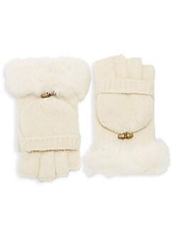 Adrienne Landau - Dyed Rabbit Fur Trimmed Gloves