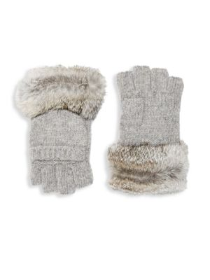 Adrienne Landau Dyed Rabbit Fur Trimmed Gloves