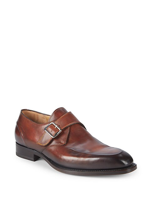 DI BIANCO Deco Single Monk-Strap Leather Dress Shoes in Brown