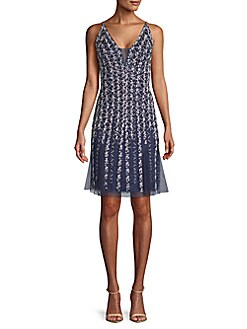 23fc0e8eaa7 Beaded Overlay Flare Dress NAVY WHITE. QUICK VIEW. Product image. QUICK  VIEW. Basix Black Label