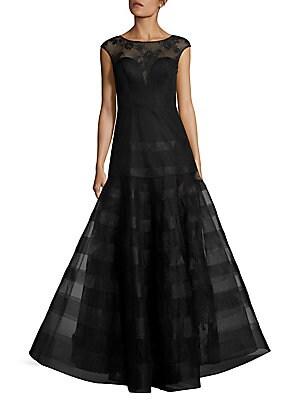 Cap-Sleeve Ball Gown