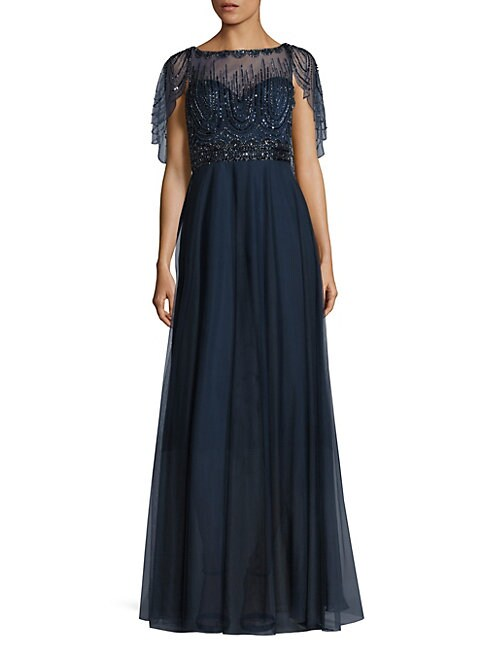 BASIX BLACK LABEL | Beaded Capelet Gown | Goxip