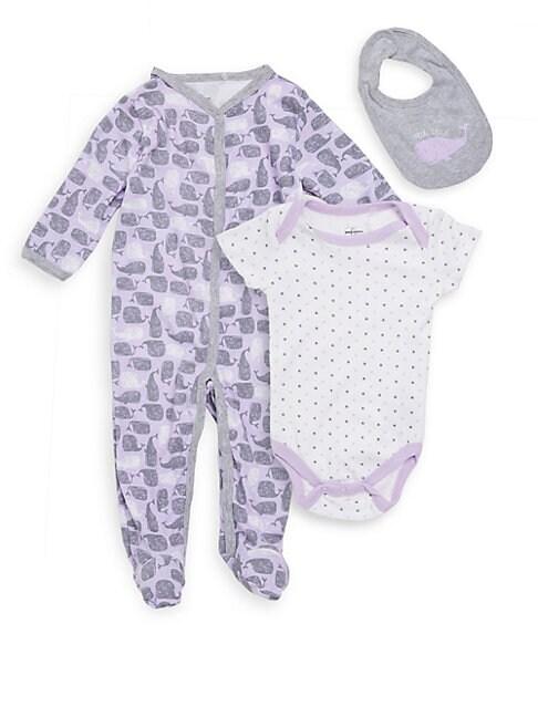 Baby Girl's Three-Piece Footie, Bodysuit & Bib Set