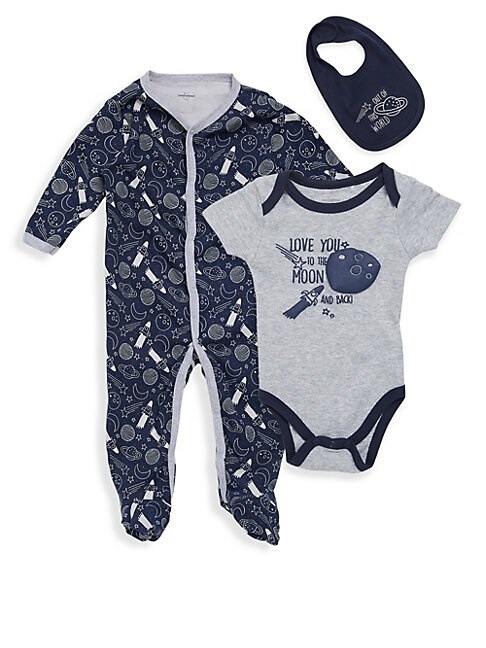 Baby Boys Out Of This World ThreePiece Footie Bodysuit  Bib Set