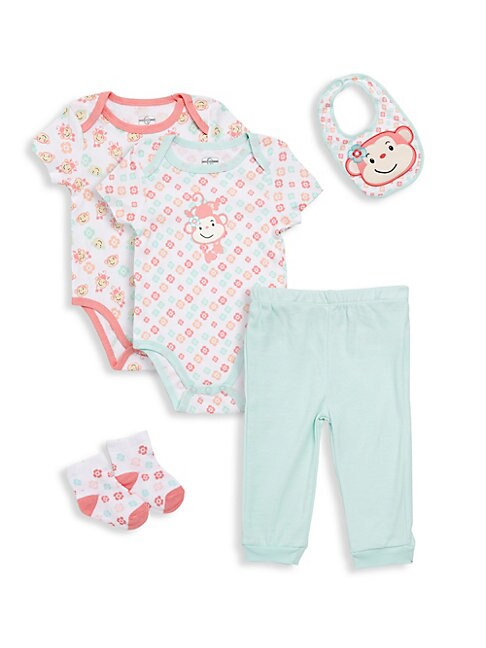 Baby Girls FivePiece Cotton Bib Bodysuits Pants and Socks Set