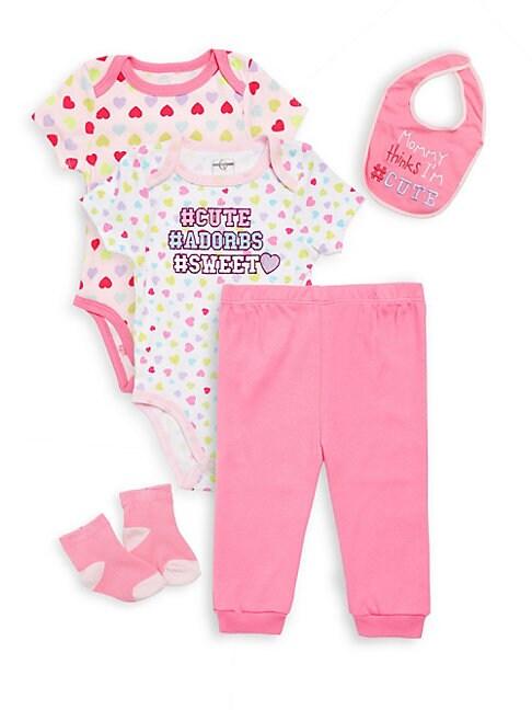 Baby Girl's Cute Adorbs Sweet Cotton Five-Piece Set