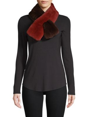 ANNABELLE NEW YORK Dyed Rabbit Fur Scarf in Brown Rust